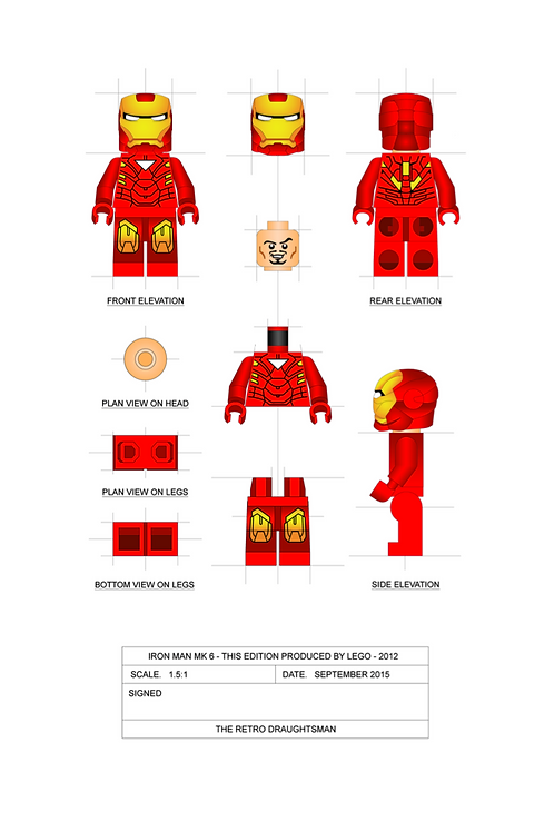 Iron Man - Minifigure - 1.5:1 Scale Art Print