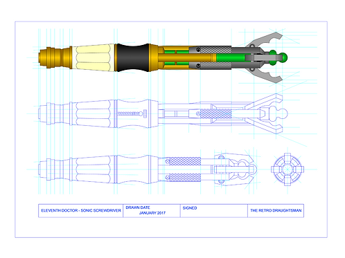 Dr Who - 11th Doctor Sonic Screwdriver - Technical Art Print
