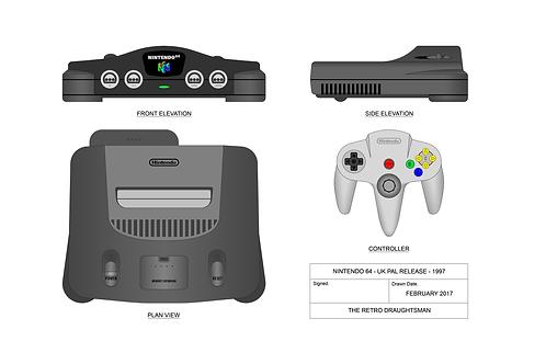 Nintendo N64 - Technical Art Print