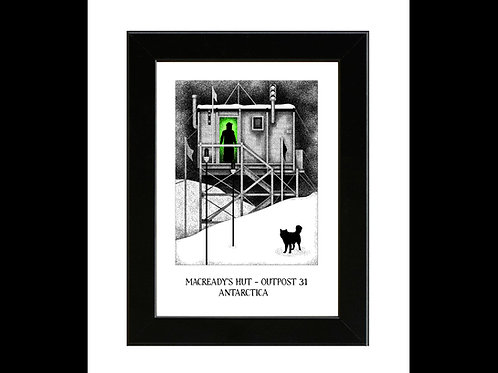 Macready's Hut - John Carpenters The Thing - Framed Art Print
