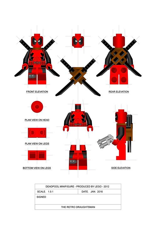 Deadpool - Minifigure - 1.5:1 Scale Art Print