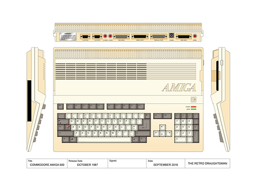 Commodore Amiga 500 - Technical Art Print