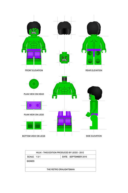 Hulk - Minifigure - 1.5:1 Scale Art Print