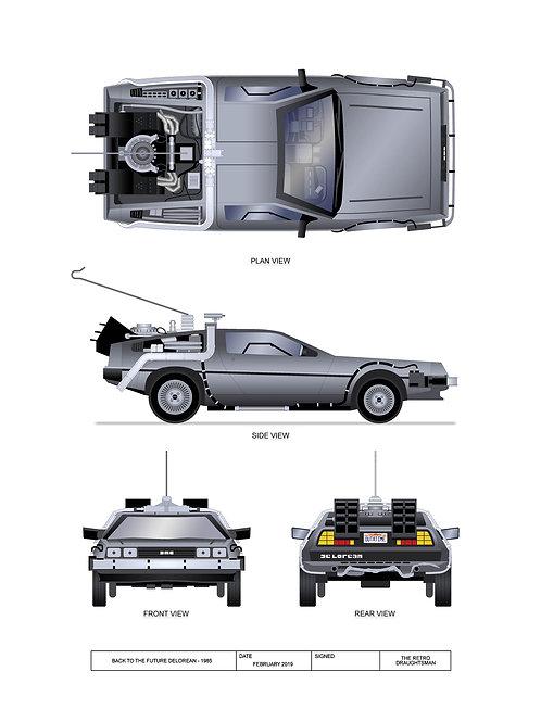 Back to the Future Delorean - Technical Art Prints