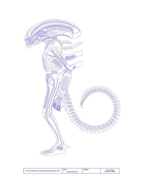 "1979 - Kenner - 18"" Alien - Technical Art Print"