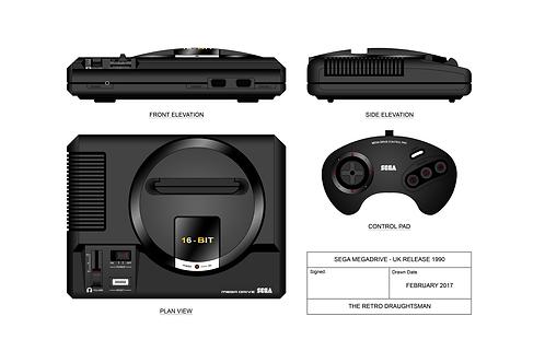 Sega Megadrive - Technical Art Print