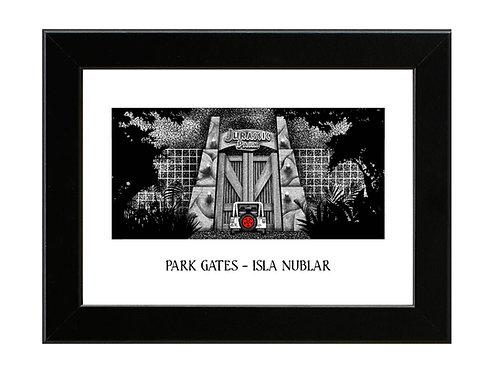 Jurassic Park Gates - Framed Art Print