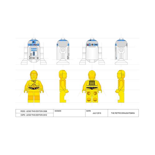 R2D2 & C3PO - Minifigure - Art Print