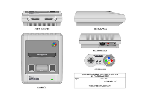 Super Nintendo - Technical Art Print