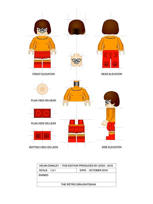 Scooby Doo - Velma Dinkley - Minifigure - 1.5:1 Scale Art Print
