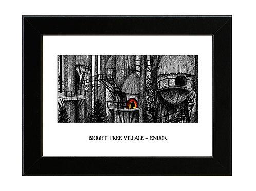 Bright Tree Village - Endor - Star Wars - Framed Art Print