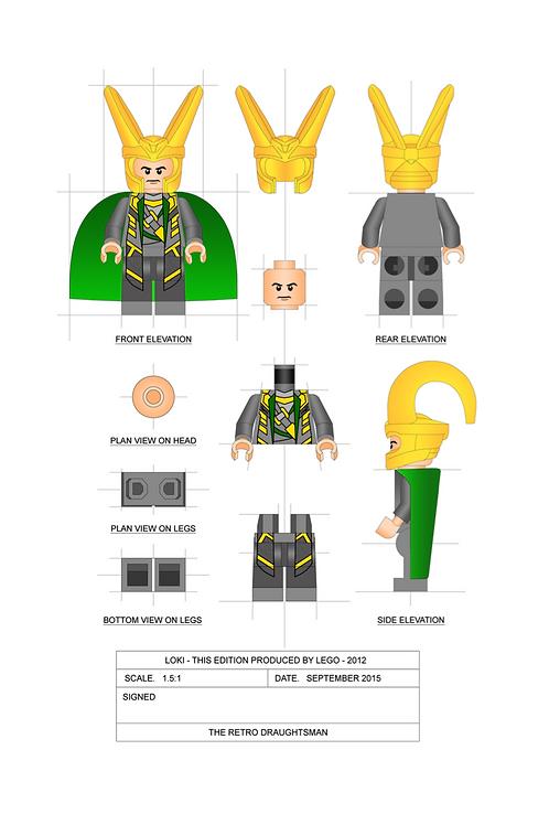 Loki - Minifigure - 1.5:1 Scale Art Print