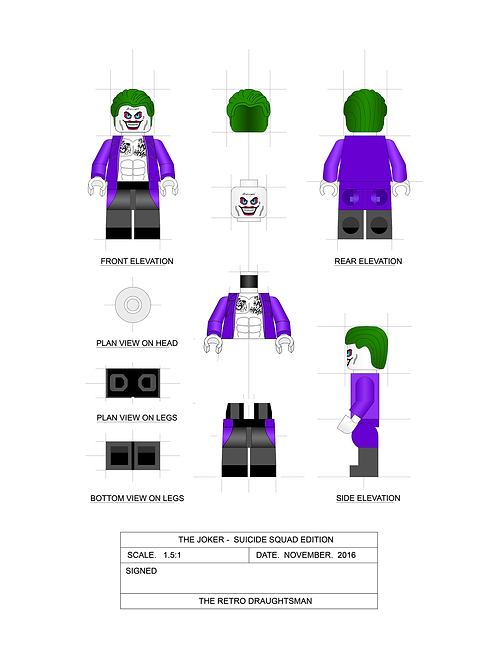 THE JOKER Suicide Squad Version - Minifigure - 1.5:1 Scale Art Print