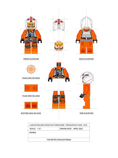 X-Wing Luke - Minifigure - Art Print