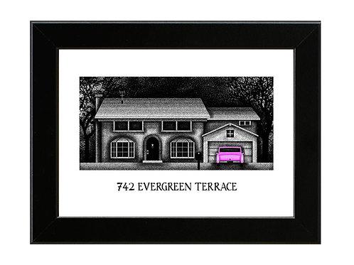 742 Evergreen Terrace - The Simpsons - Framed Art Print