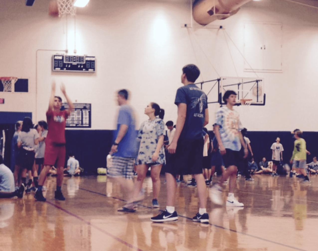 A fierce game of basketball.