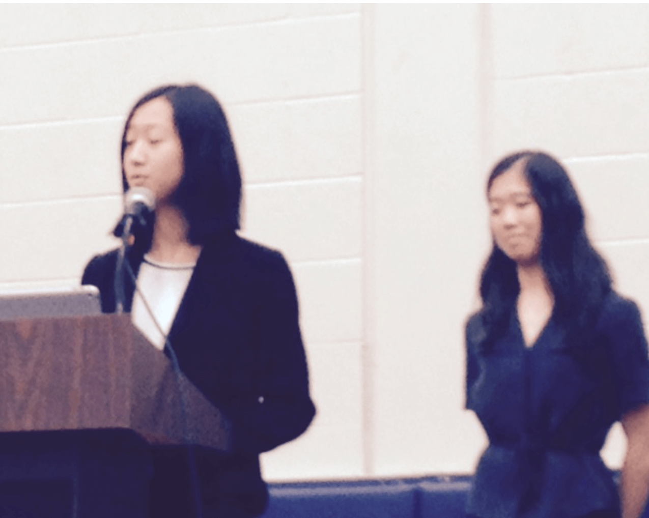 Lillian and Isabella deliver speeches for the TSJCL Executive Board elections.