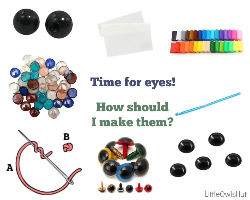 how to make eyes for crochet knitting toy