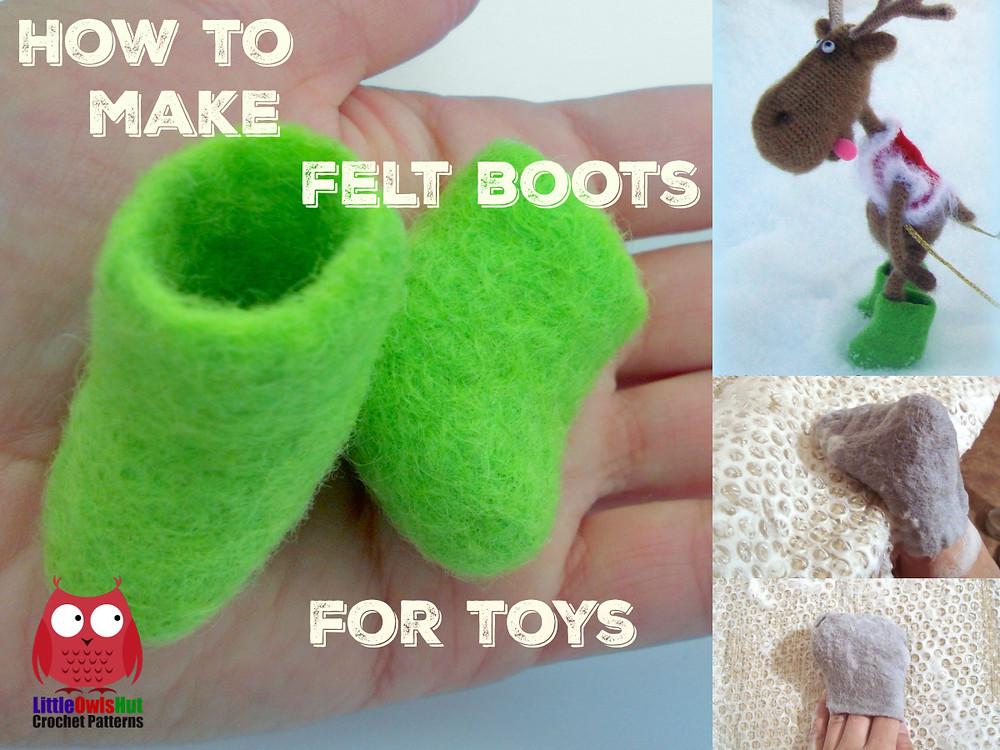 how to make felt boots for toys littleowlshut amigurumi borisenko
