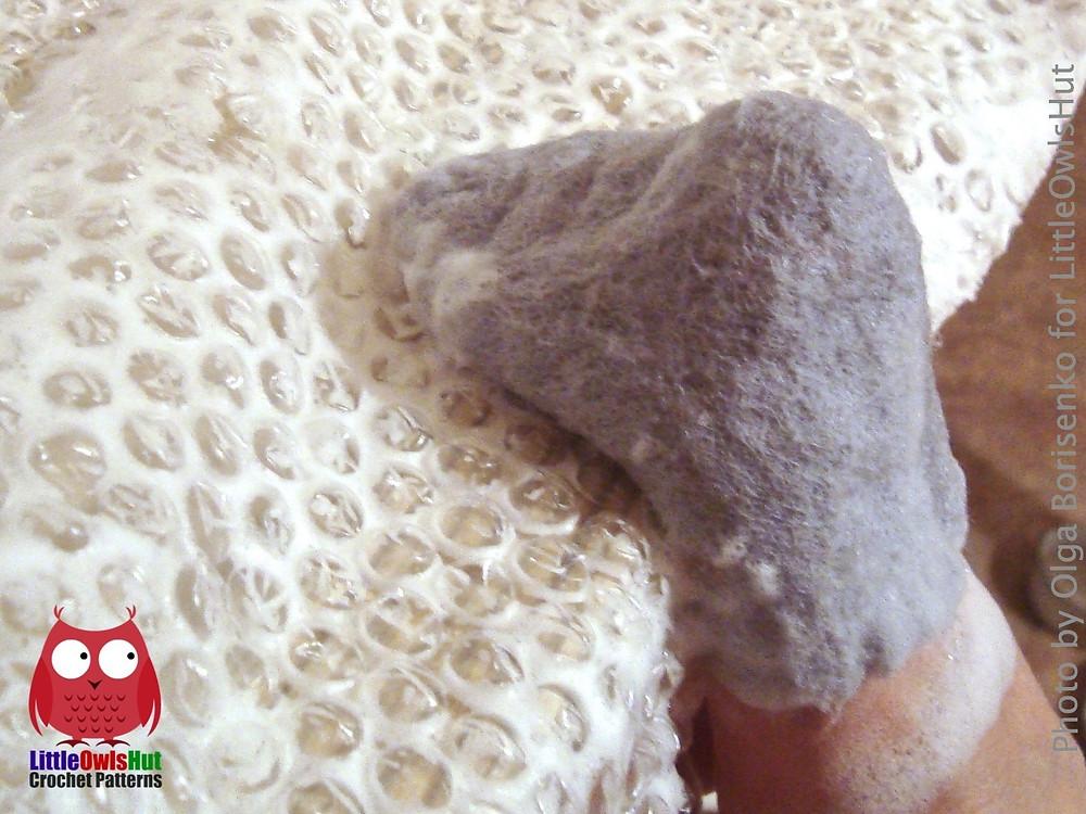 process of felting boots for toys littleowlshut
