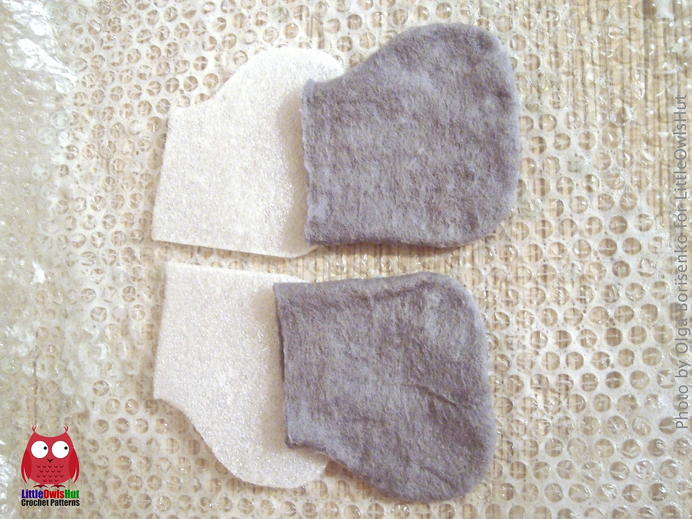 process of felting boots for toys littleowlshut boots cuted in half
