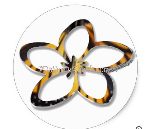 Butterfly Plumeria (Round) Sticker (6 or 20 Count)