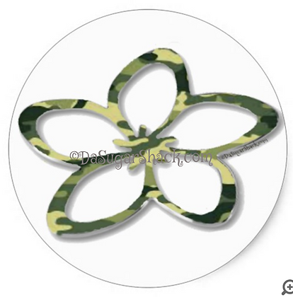 Camo Plumeria (Round) Sticker (6 or 20 Count)