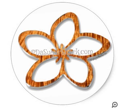 Koa Plumeria (Round) Sticker (6 or 20 Count)