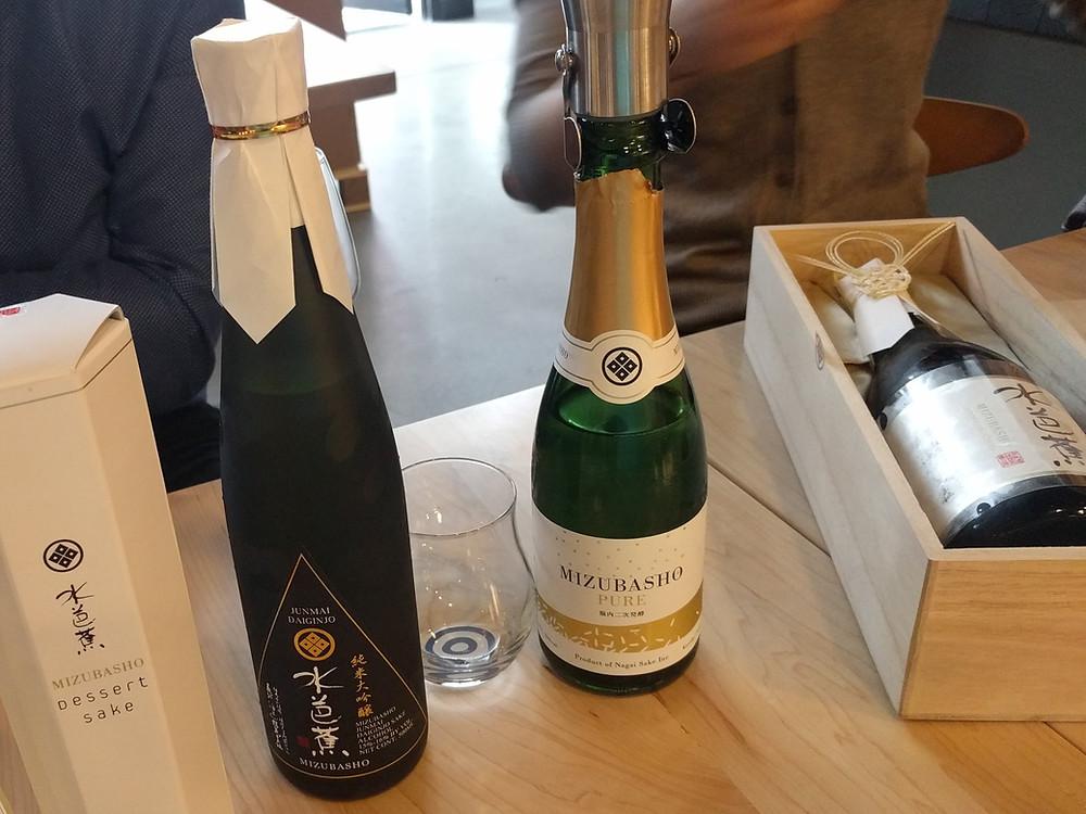 A variety of Sake bottles made by Mizubasho
