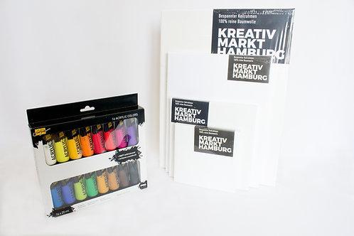 Keilrahmen-Set mit Acrylfarben