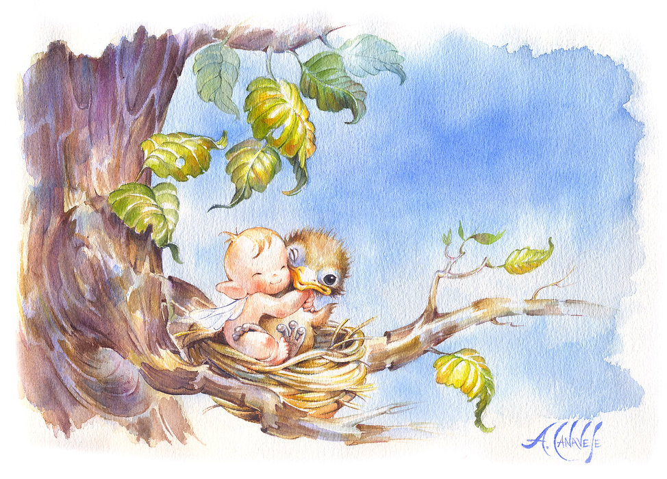 "Antonella Canavese Watercolour ""Friendship"" about love for animals"