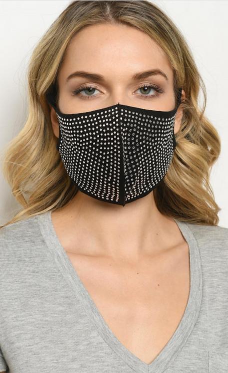 Rhinestone Studded Face Mask