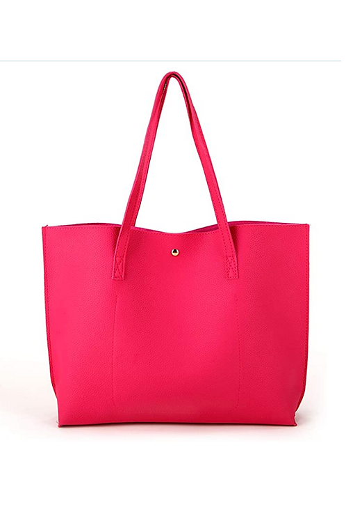 Pink Faux Leather Tote