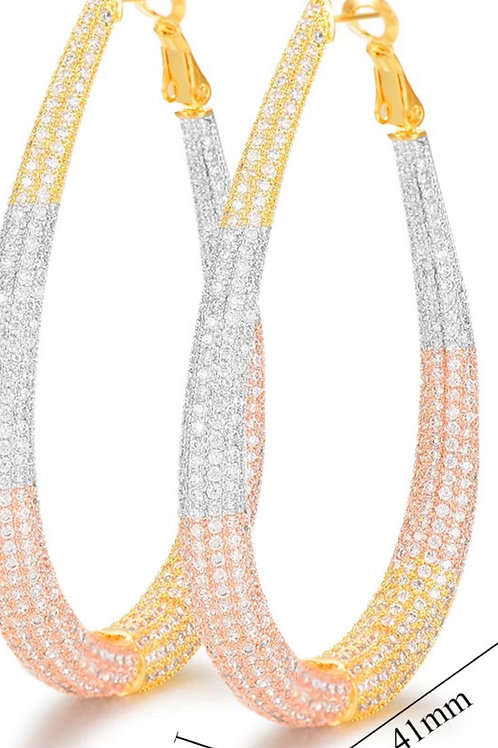 Pave Tricolor Hoops