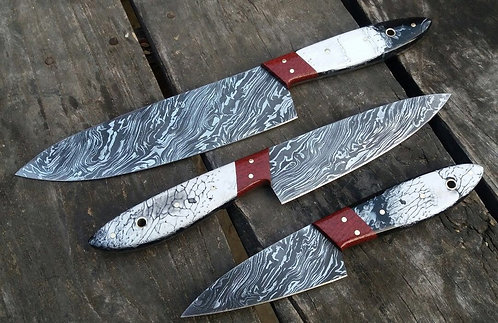 Beautiful Full Tang Resin Handle Damascus Steel kitchen chef knives