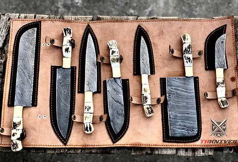 Full Tang Damascus Steel Kitchen Chef Knives Set