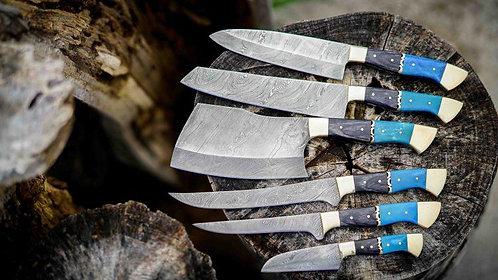 Damascus Steel kitchen 06 knives Set