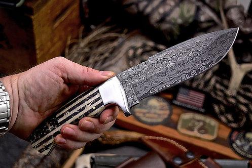 Handmade Raindrop Damascus Custom WAR USA FLAG Scrimshaw Bone Hunter Knife
