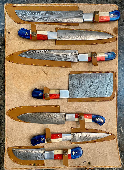 Handmade Texas Flag Kitchen Chef Knives