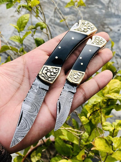 Pair Of Damascus Steel Folding Knives