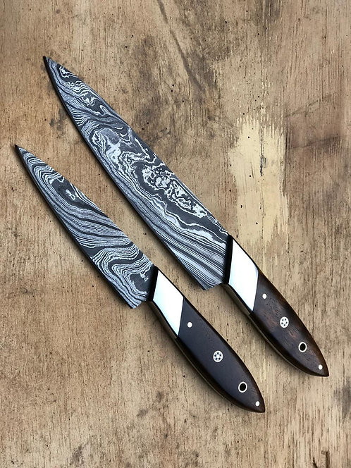 Damascus Steel 2 Pieces Kitchen Chef Knives