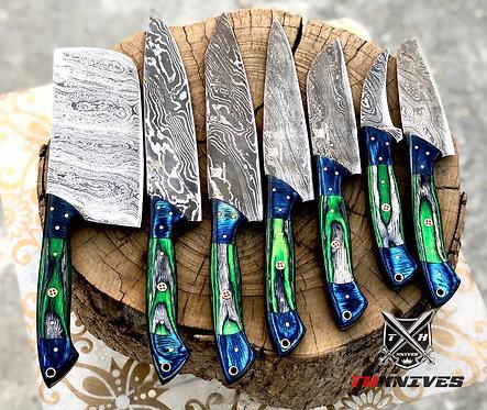 Damascus steel Beautiful Twist Pattern 7 ' pieces kitchen chef knives set