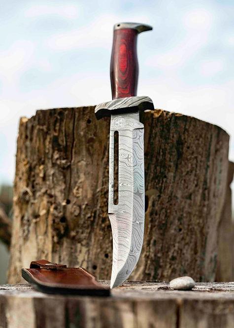 Damascus Steel Rambo Bowie Knife