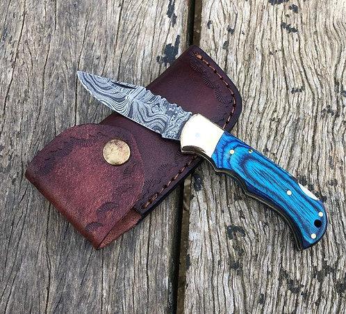 Blue Color Handle Damascus Steel Folding/Pocket Knife