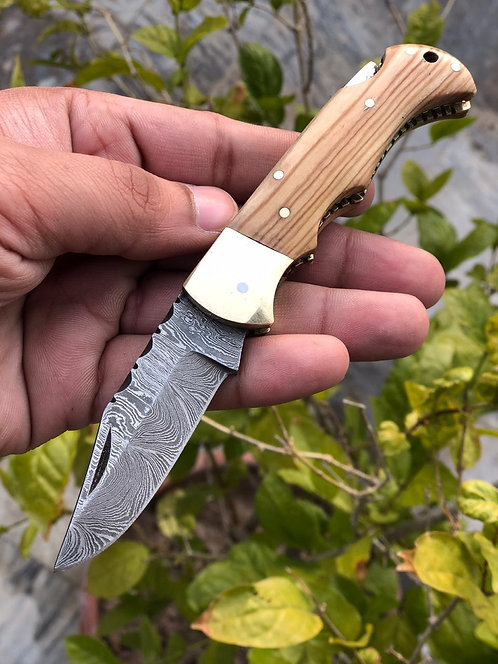 Damascus Steel Back Lock Folding/Pocket Knife ( Could be a Unique Gift )