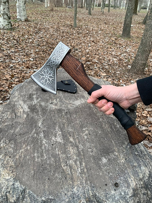 Steel hiking axe, Camping hatchet, Custom Viking axe with etching