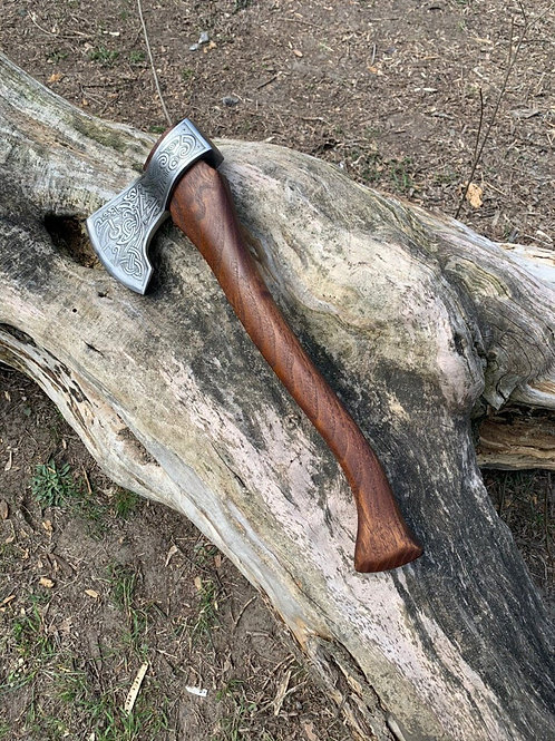 Steel Viking axe with etching, Steel hiking axe, Camping hatchet