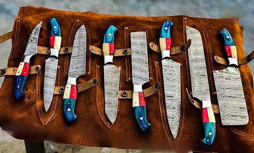 Handmade Damascus Steel 8 Pieces Kitchen Chef Knives set