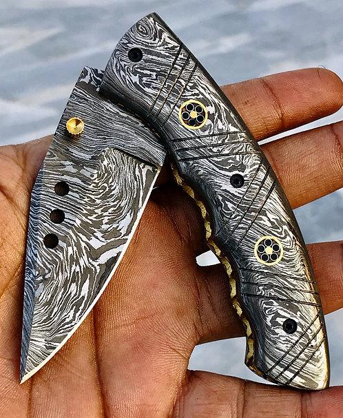 Huntwise Special Beautiful Custom Handmade Full Damascus Folding knife