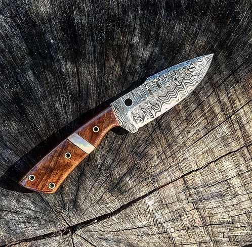 Smaller Damascus Steel hunting knife